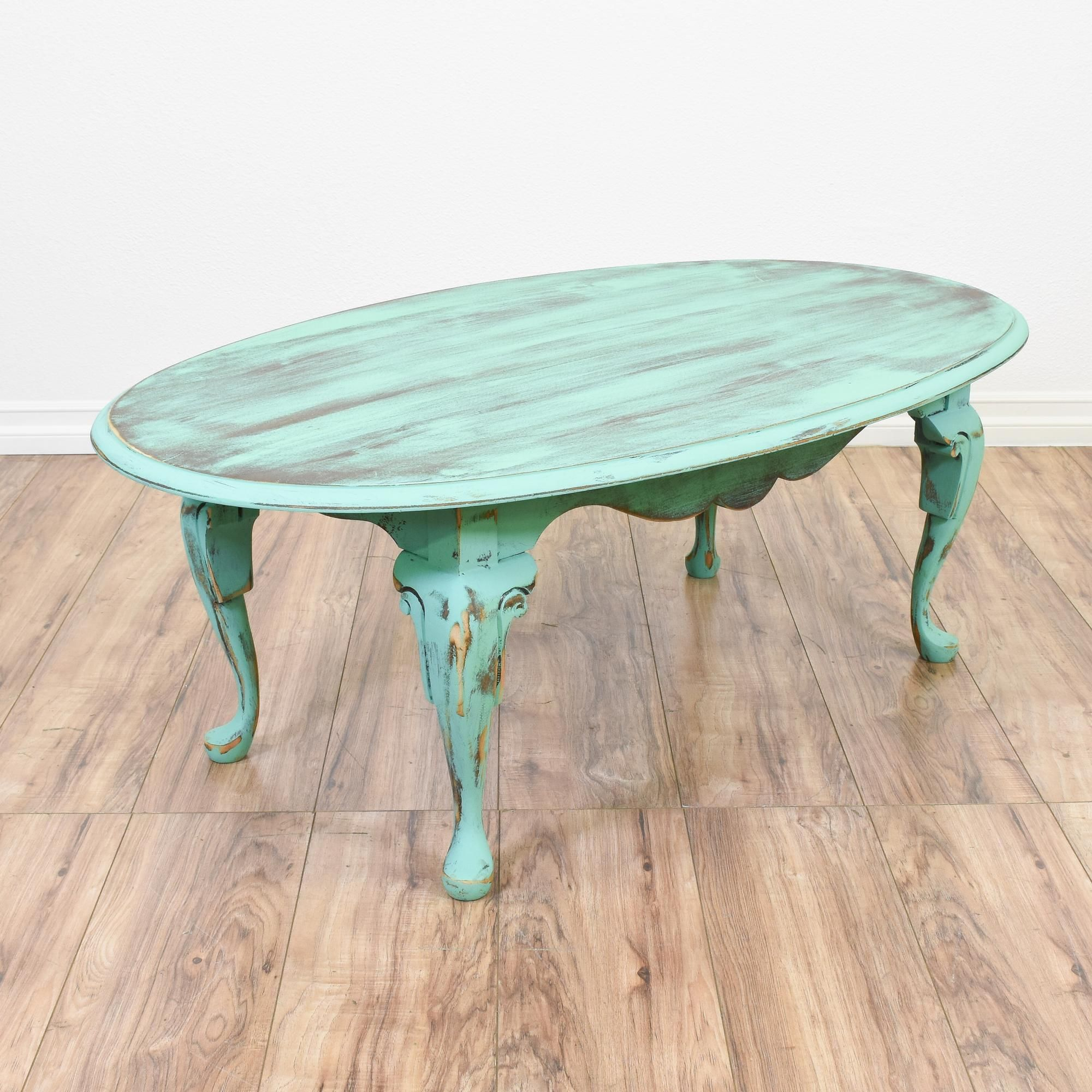 This Shabby Chic Coffee Table Is Featured In A Solid Wood With A Distressed  Light Teal Chalk Paint Finish. This Coffee Table Has A Large Oval Table  Top, ...