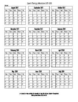 Speech Therapy Attendance Calendar 2017-2018 | Speech ...