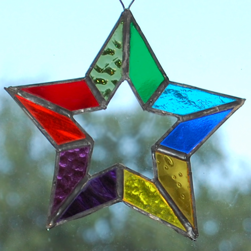 star is 14 cm wide with a hook at the top for hanging.