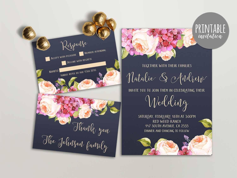 tie the knot wedding invitations etsy%0A Printable Wedding Invitation  Floral Wedding Invitation  Hydrangea Wedding  Invitation  Pink  u     Navy Boho Wedding Invite  Peony Invitation