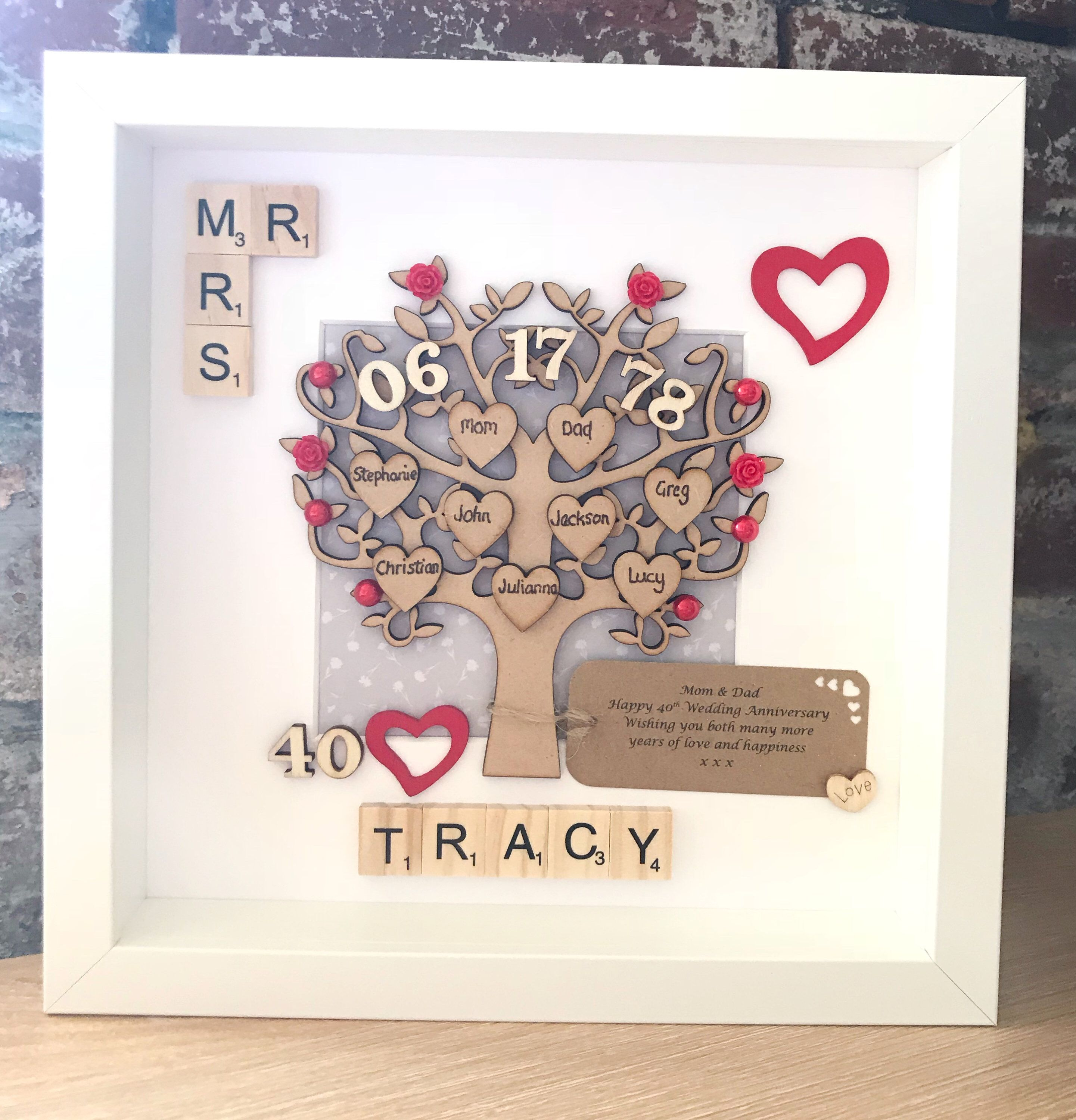 Ruby Wedding Anniversary Gift And Family Tree 40th Wedding Etsy Anniversary Gifts For Parents Ruby Wedding Anniversary Gifts 40th Wedding Anniversary