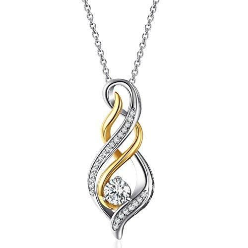 """Caperci Diamond Accent """"MOM"""" Flame Twist Pendant Necklace in Sterling Silver and Gold Plated"""