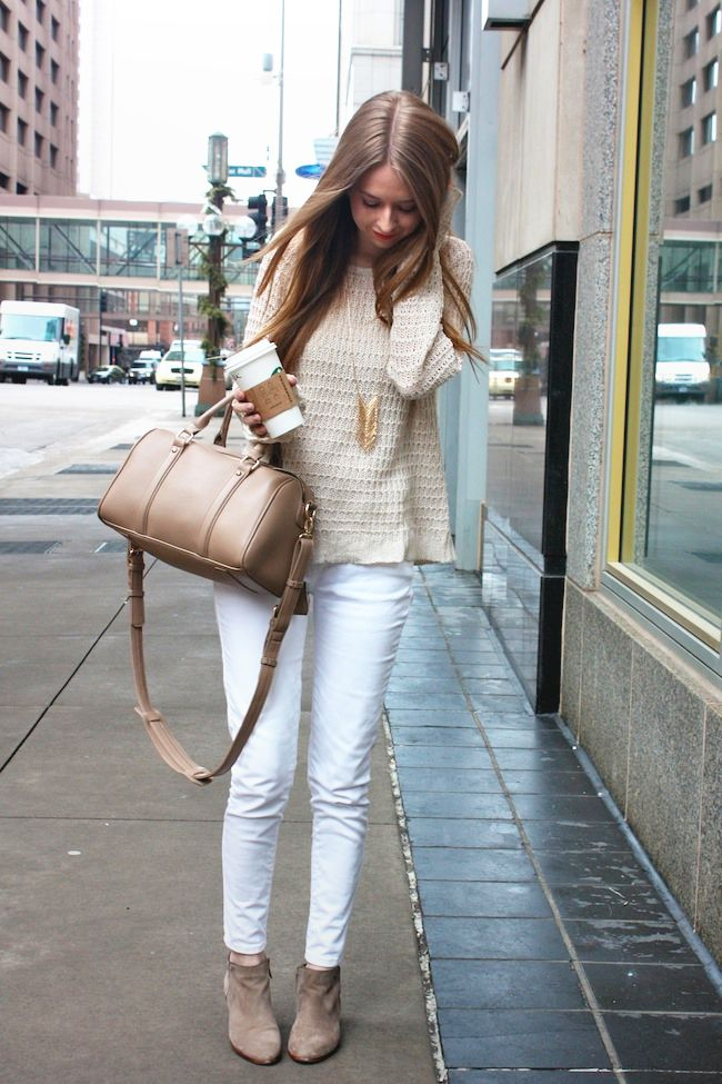 f2933d368 Cream on Cream fall outfit How To Wear Ankle Boots