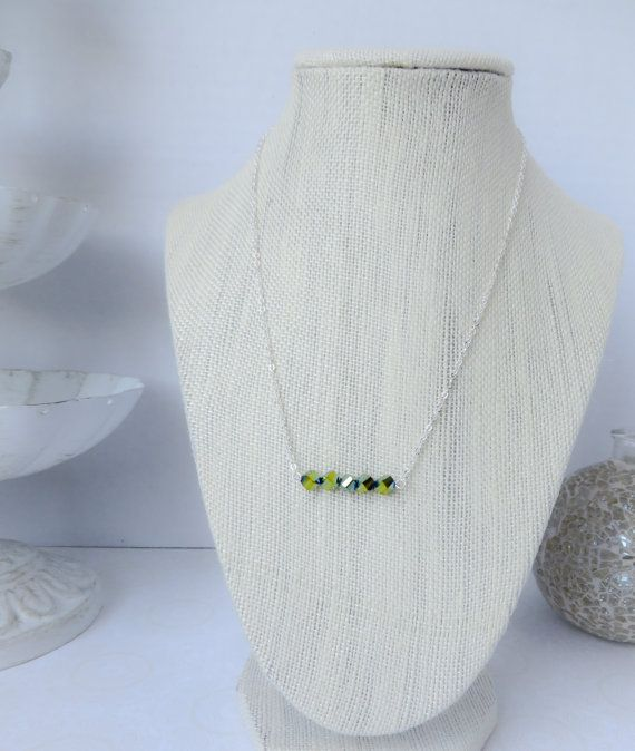 Green Iridescent Bead Necklace by InstinctBoutique on Etsy, $25.00