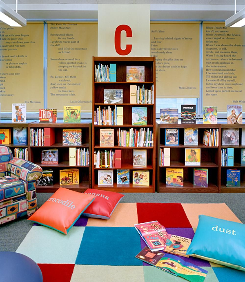 Interesting Home Library Designs For Modern Homes: Interesting Cushions Design In Kids Library With Letters