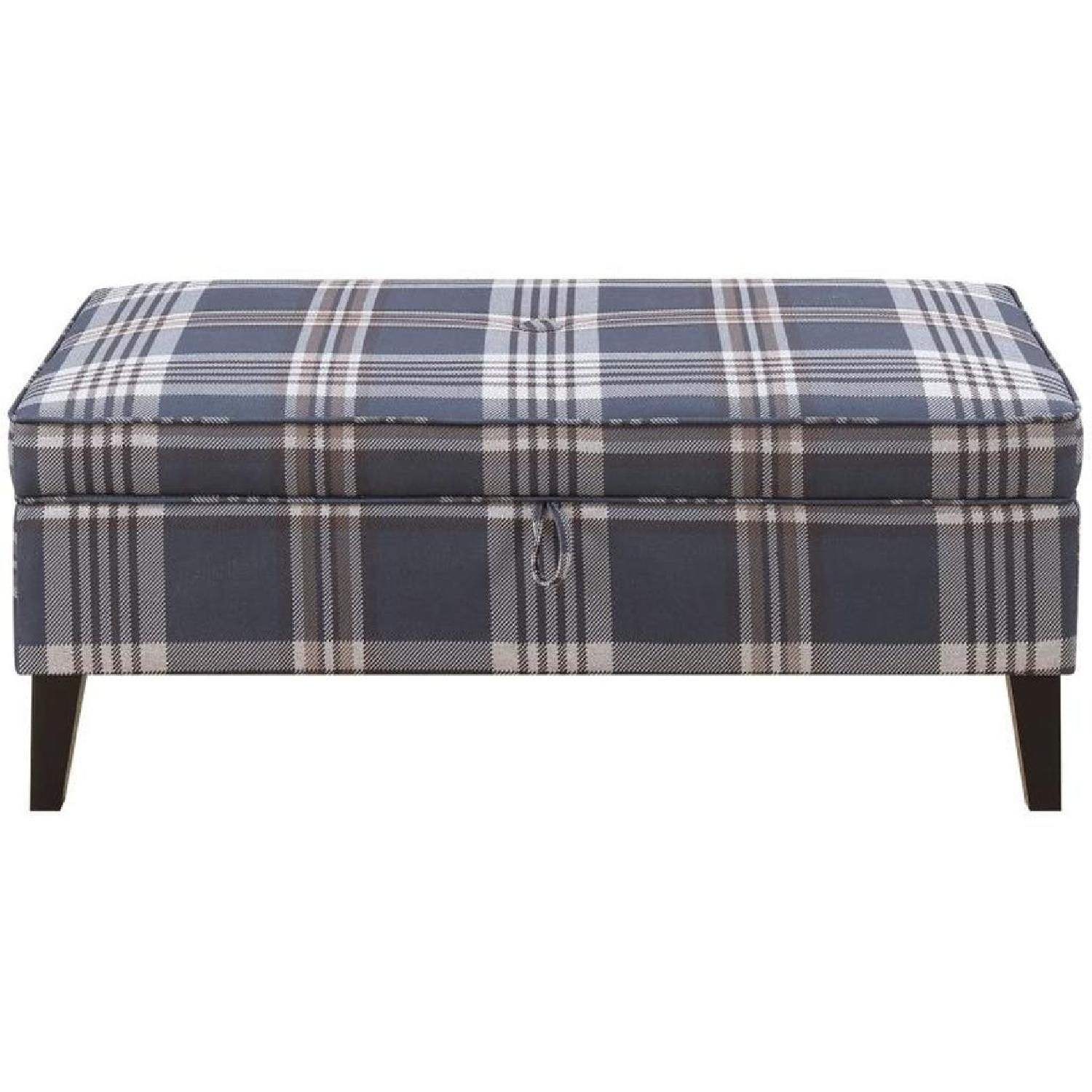 Awesome Storage Bench Ottoman In Wool Like Plaid Fabric Living Machost Co Dining Chair Design Ideas Machostcouk
