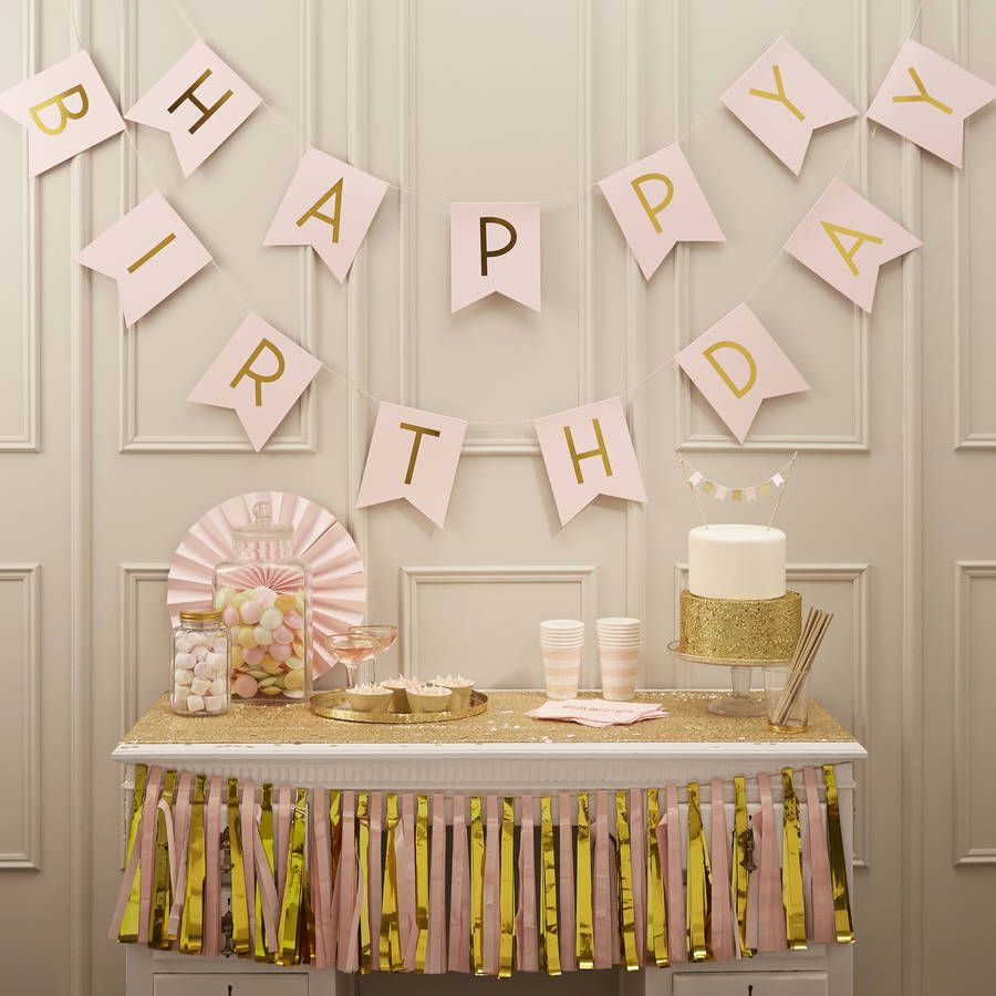 Pastel Pink And Gold Foiled Happy Birthday Bunting By Ginger Ray