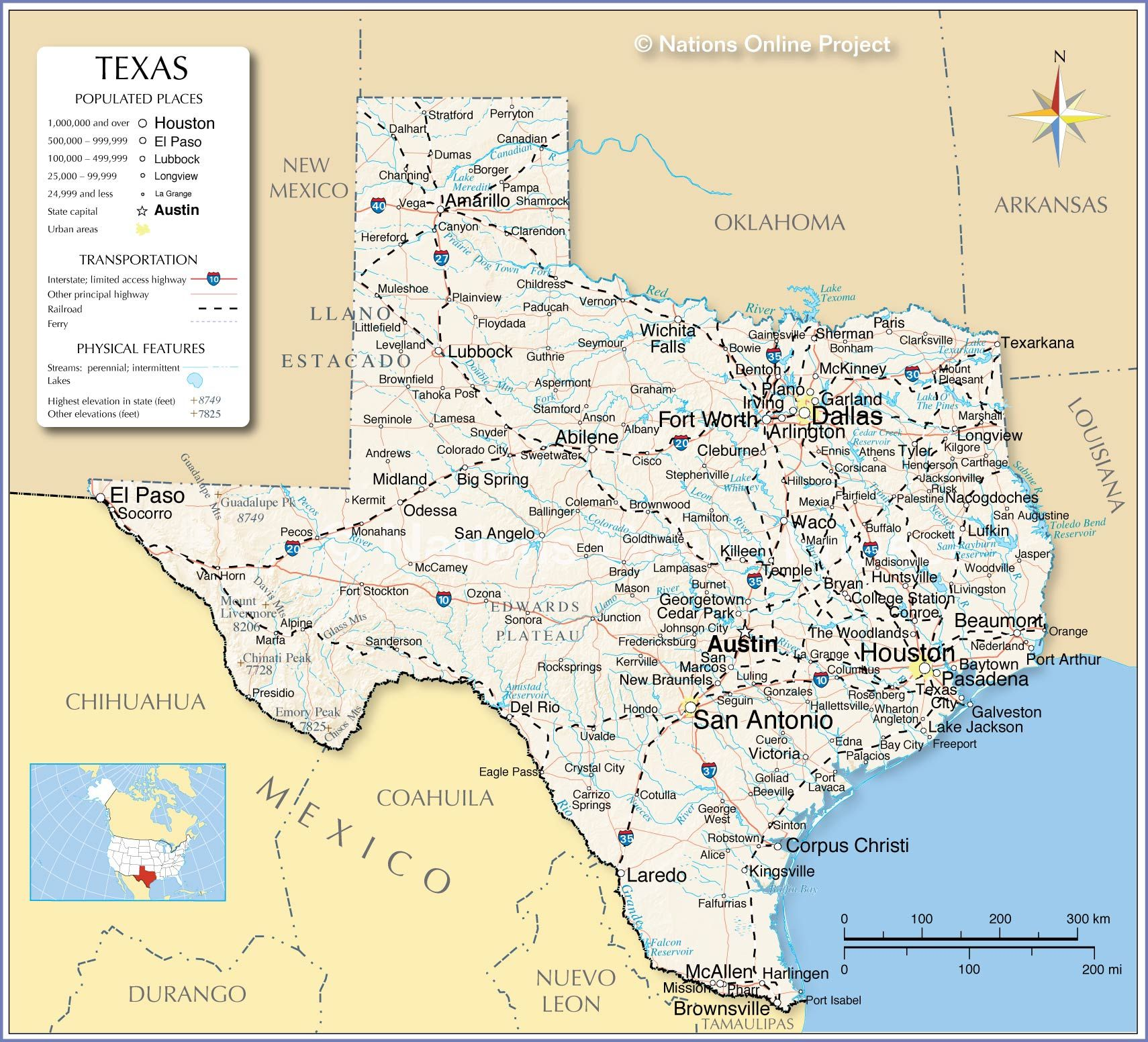 Map Of Texas Showing Austin.Reference Map Of Texas Showing The Location Of U S State Of Texas