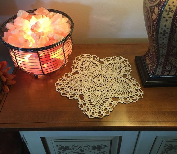 Gold Star Doily - Small Crochet Doilies - Pineapple Doily - Handmade Crochet Lace - Handmade Doilies - Farmhouse Decor - Crochet Doily  myvintagesoulbyruth.etsy.com