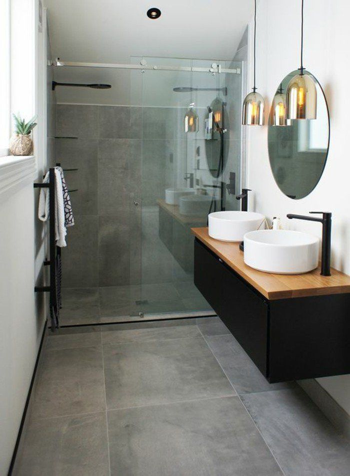 le carrelage effet b ton en 55 photos inspirantes construction bathroom inspo and bath room. Black Bedroom Furniture Sets. Home Design Ideas