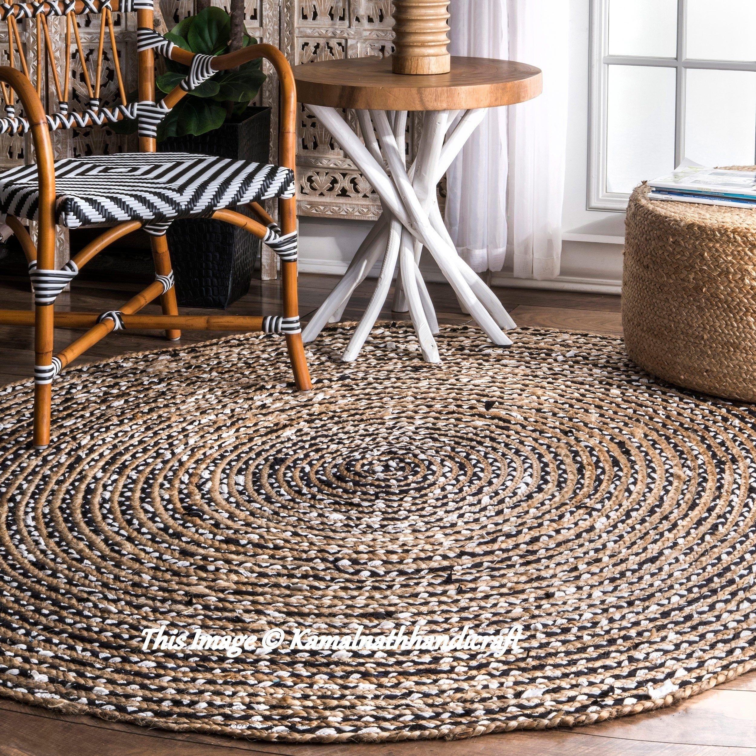 Indian Braided Rug Floor Rug Handmade Jute Rug, Natural
