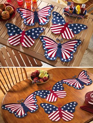 Set Of 4 Butterfly Decor Table Runner Placemats