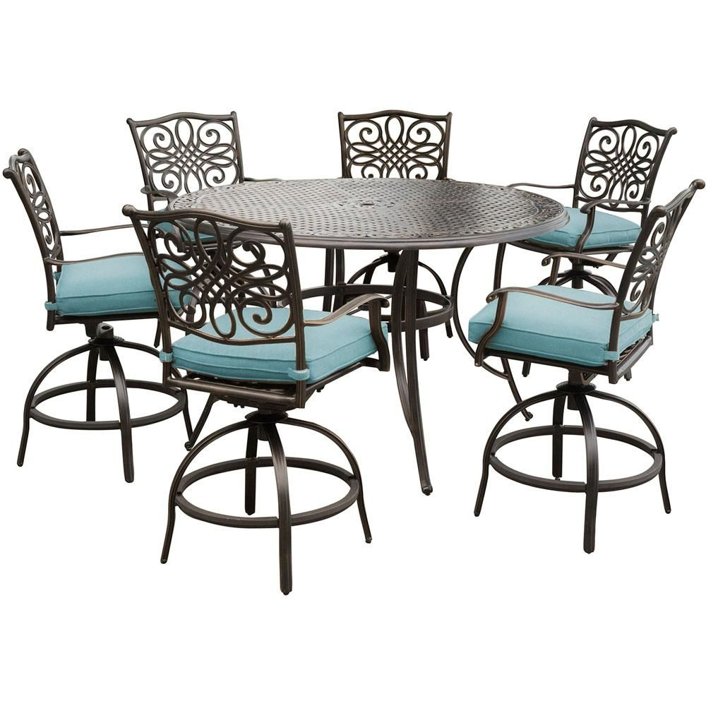 Hanover Traditions 7 Piece Aluminum Outdoor High Dining Set With Swivel Chairs With Natural Oat Cushions Traddn7pcbr The Home Depot Outdoor Dining Set Patio Furniture Sets Dining Set