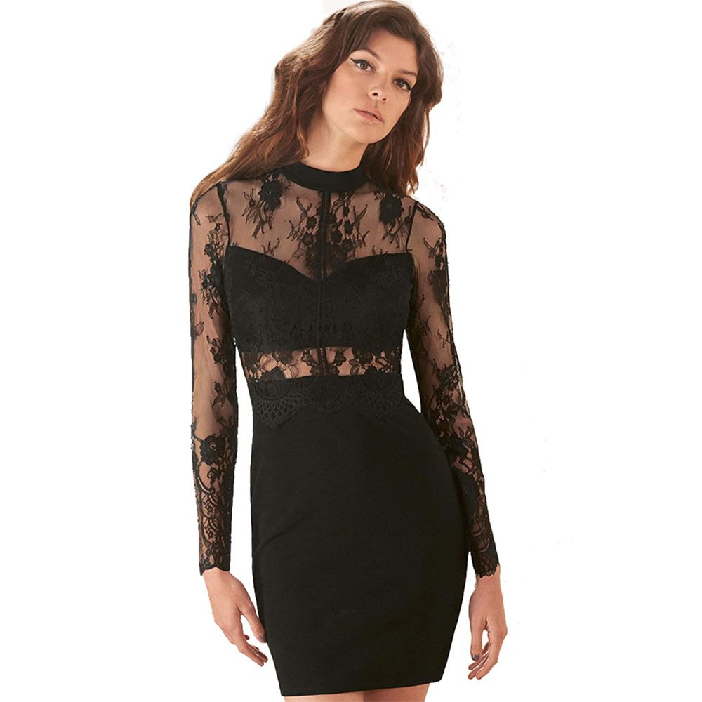 Wendywu sexy women solid black floral lace long sleeve oneck mini