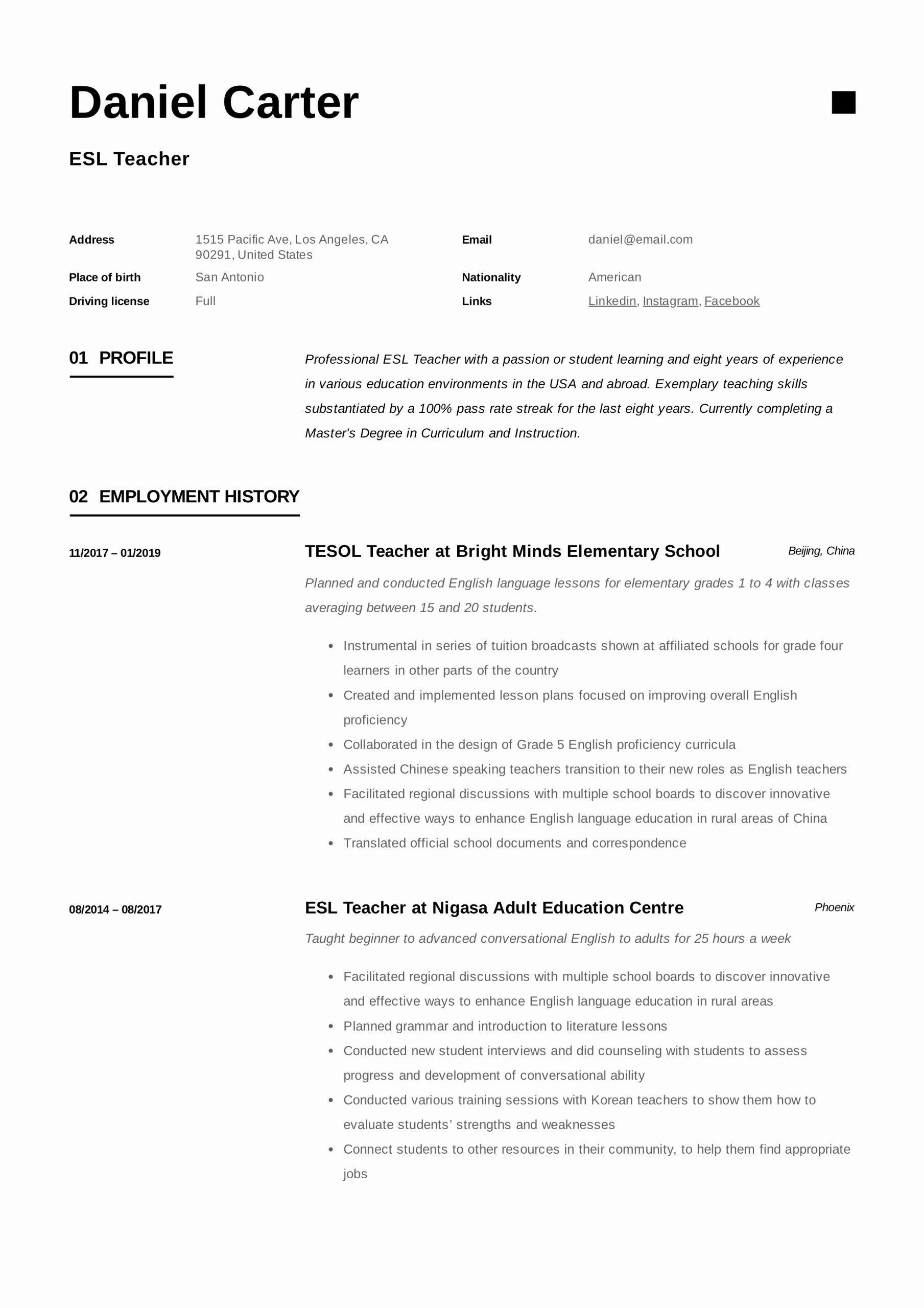 Esl Teacher Job Description Resume Inspirational Esl