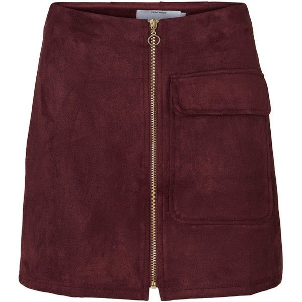 FAUX SUEDE HW SKJØRT ($38) ❤ liked on Polyvore featuring skirts, bottoms, faux suede skirt and red skirt