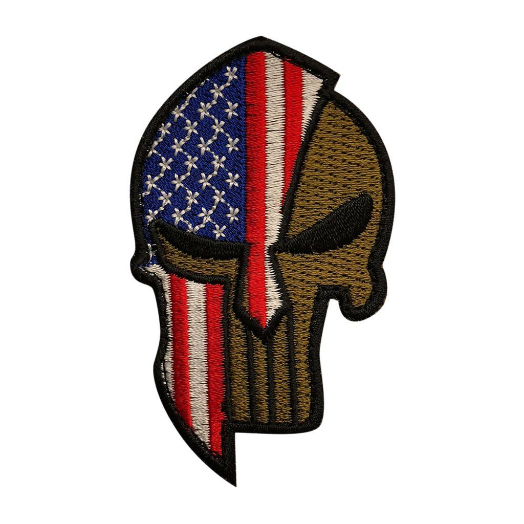 5fac27384ac American Flag Spartan Helmet Punisher Skull Patch (Embroidered Hook ...