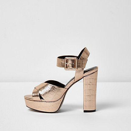c630d2a99a45 Rose gold wide fit platform heel sandals - Sandals - Shoes   Boots ...