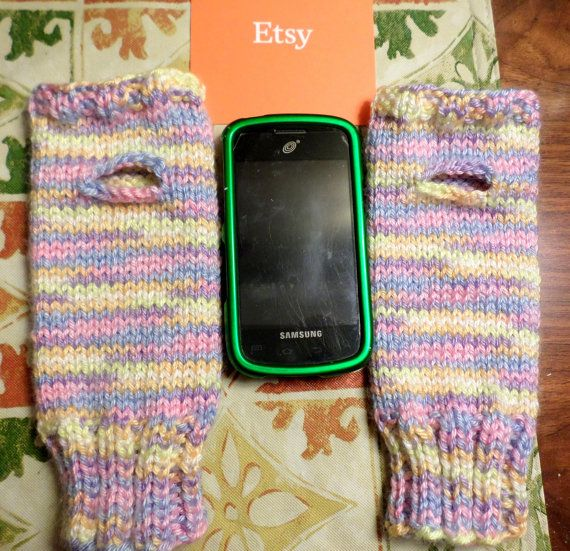Fingerless Texting Gloves Hand Knit Pastels by NortherNights
