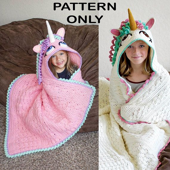 CROCHET PATTERN - Hooded Unicorn Blanket Pattern (PDF File ...