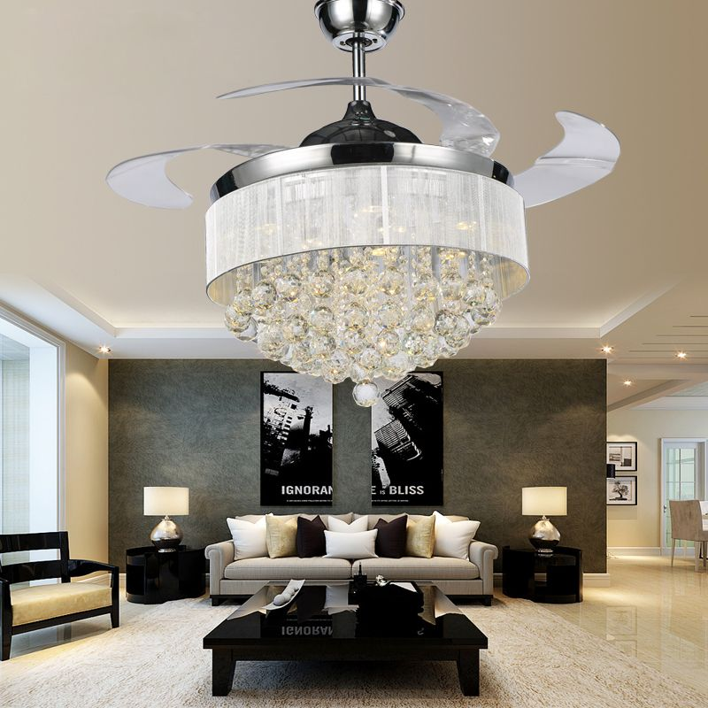 Hote sale Fancy ceiling fans with crystal chandelier LED 54W light