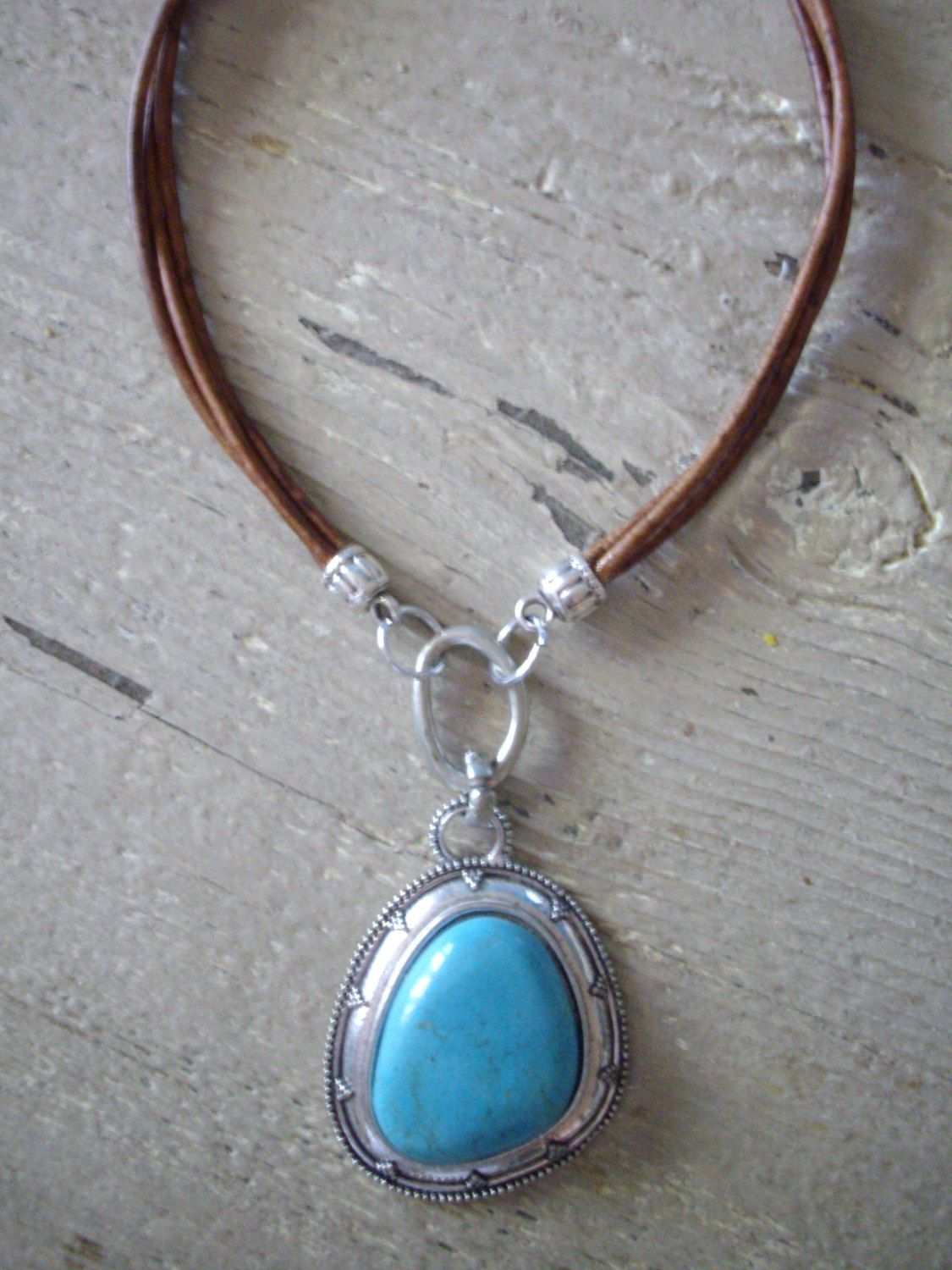 Triple Strand 3mm Distressed Brown Leather Necklace with Extra Large Silver Pendant with Turquoise Inlay by DesignsbyPattiLynn on Etsy