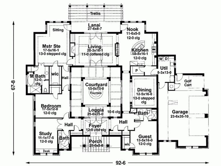 Home Exterior Architecture Courtyard House Plans Mediterranean House Plans House Plans