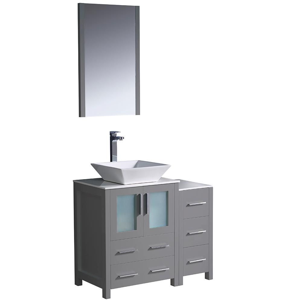 Fresca Torino 36 In Bath Vanity In Gray With Glass Stone Vanity