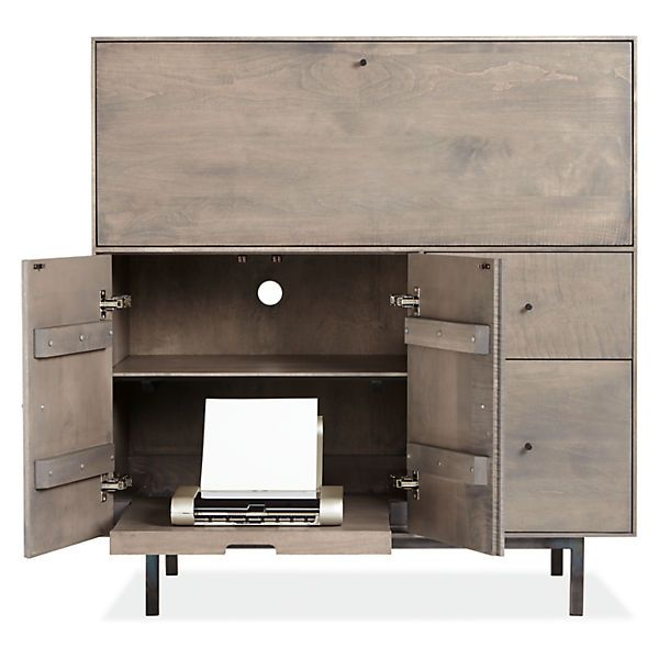 Hudson Modern Office Armoire With Steel Base   Modern Office Storage   Modern  Office Furniture   Room U0026 Board