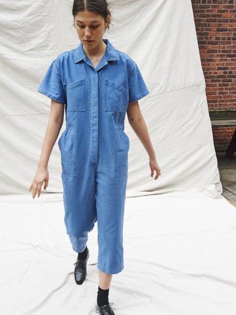 ad41430bf7c9 CARON CALLAHAN - Foster Jumpsuit in Faded Indigo Twill