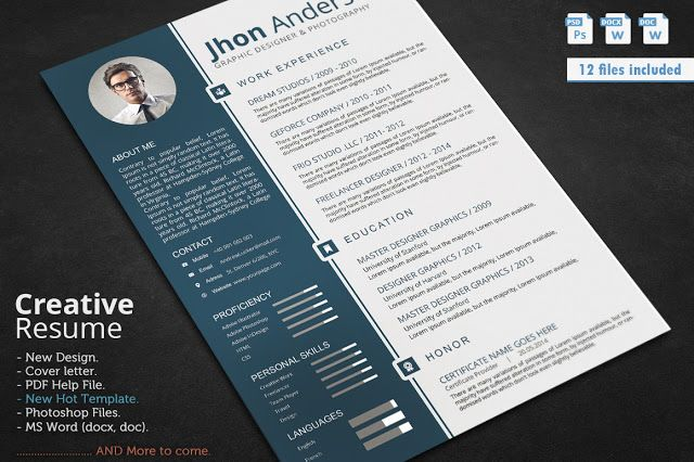 Nice Professional Resume\/CV CreativeWork247 - Fonts, Graphics - resume template docx