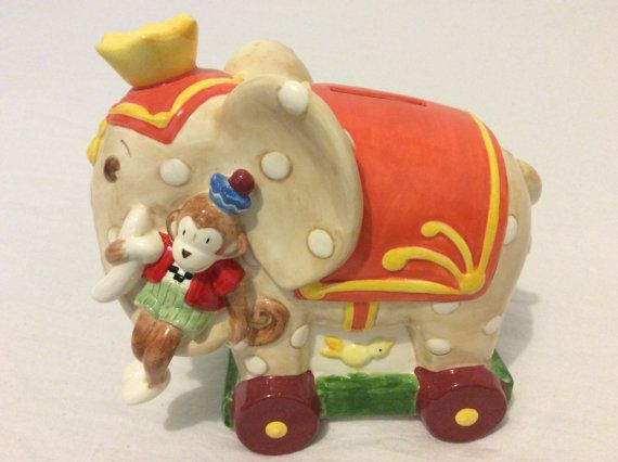 Vintage Elephant and monkey ceramic piggy bank by GreatThrifty