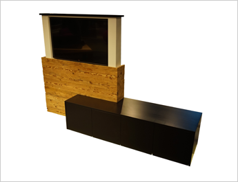 sideboard mit versenkbarem tv von adora swiss quality. Black Bedroom Furniture Sets. Home Design Ideas