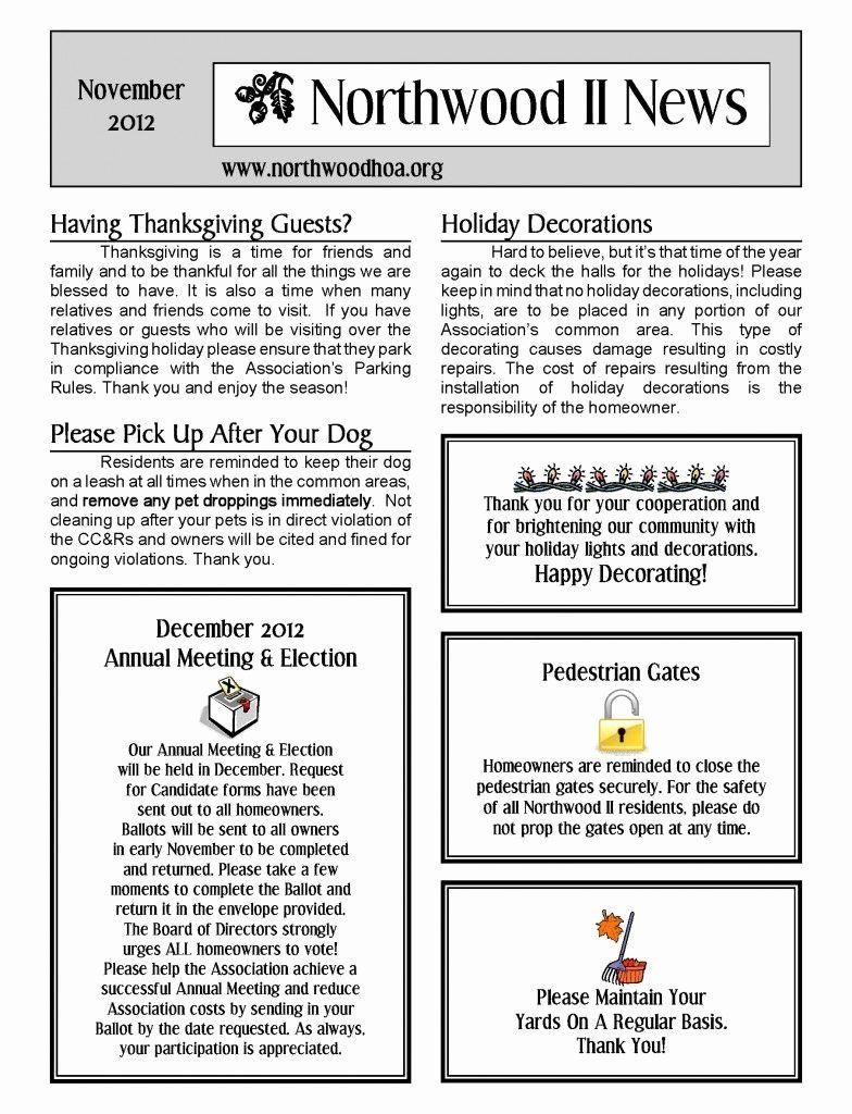 Homeowners Association Newsletter Template Unique November 2012 Northwood Ii Nwii Hoa Munity A Newsletter Templates Newsletter Template Free Letter Templates