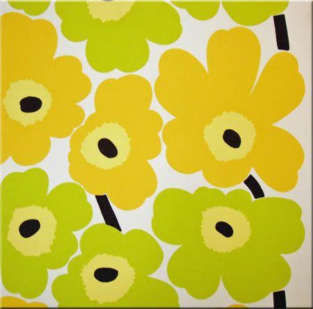 Marimekko \'Pieni Unikko\' fabric wall art in bright yellow, lime ...