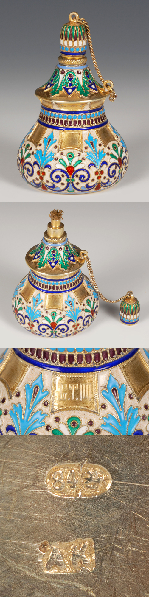 A Russian silver gilt and cloisonne enamel table lighter,