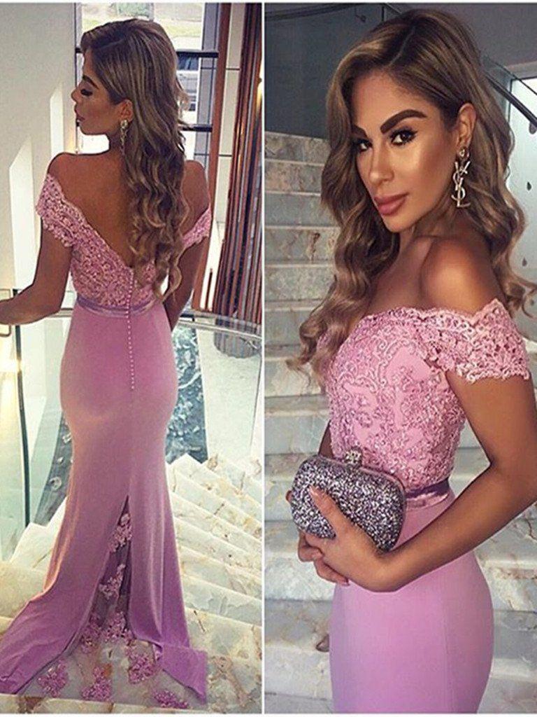 Custom made off shoulder mermaid lace prom dresses mermaid lace