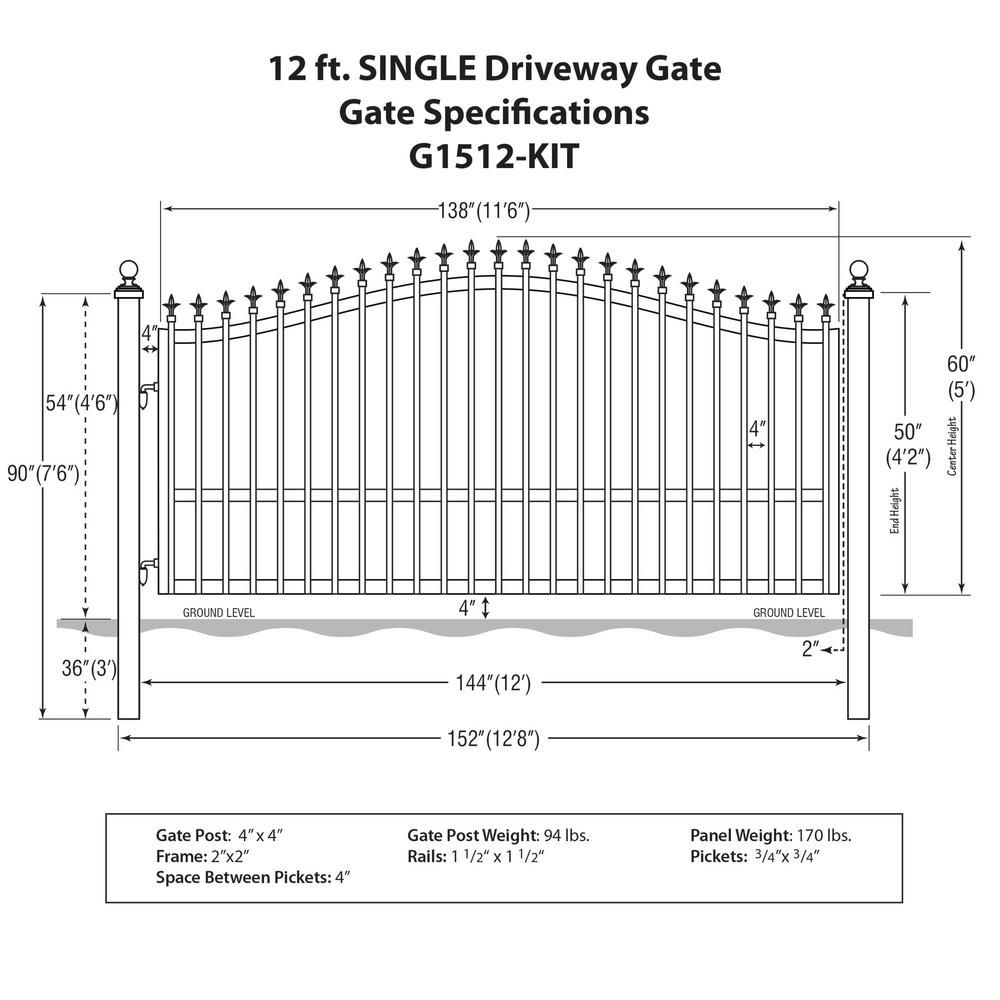 Mighty Mule St Augustine 12 Ft W X 5 Ft H Powder Coated Steel Single Driveway Fence Gate G1512 Kit The Home Depot Metal Driveway Gates Driveway Fence Fence Gate