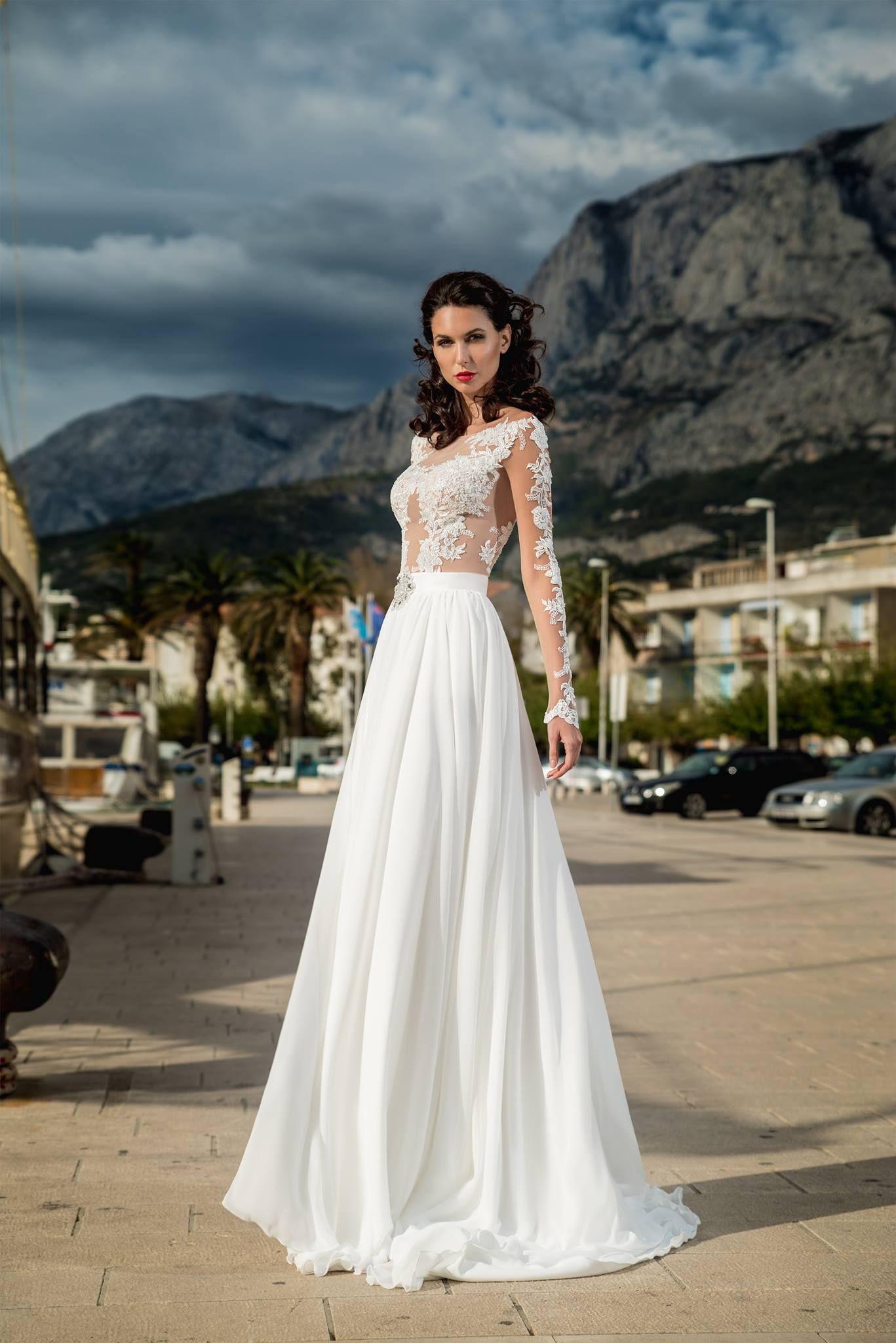 Svadobné šaty Murano - dlhé rukávy - nádherná čipky - trend 2018 -  mušelínová padavá sukňa d49ac16f57a