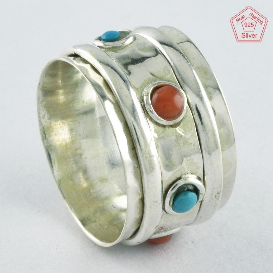 Sz 7 US, CORAL & TURQUOISE STONE 925 STERLING SILVER SPINNER RING,R4460 #SilvexImagesIndiaPvtLtd #Spinner #AllOccasions