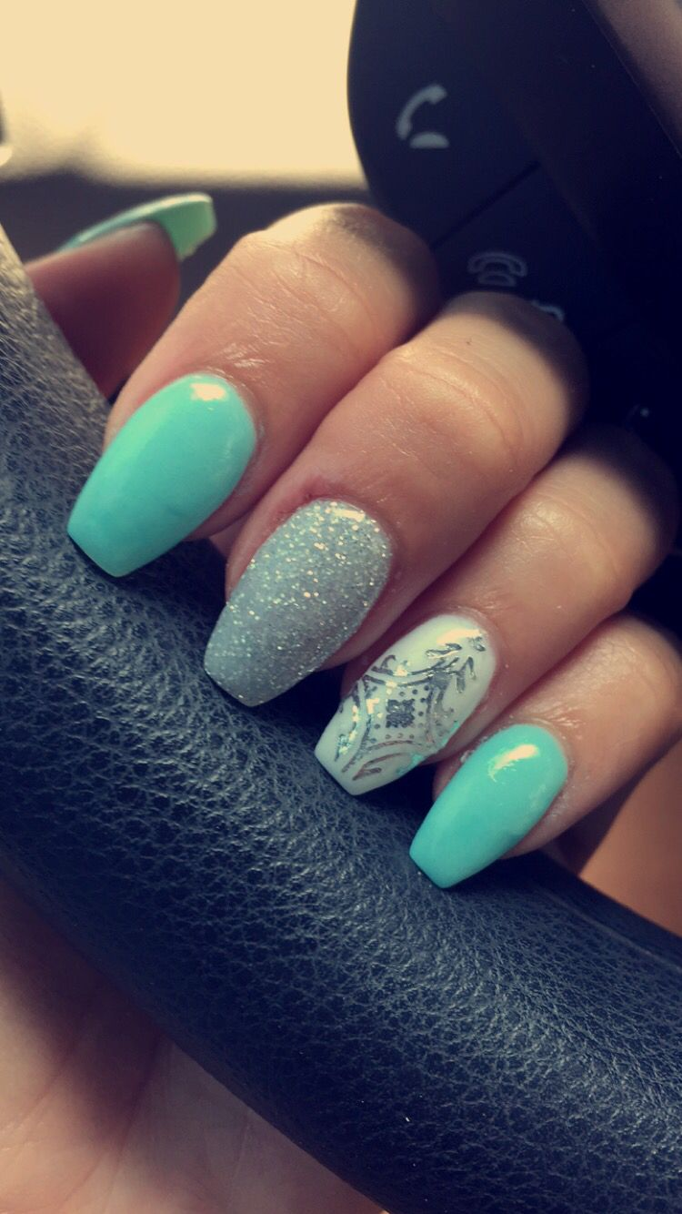 Aqua and silver Coffin nails | Nails | Pinterest | Coffin ...