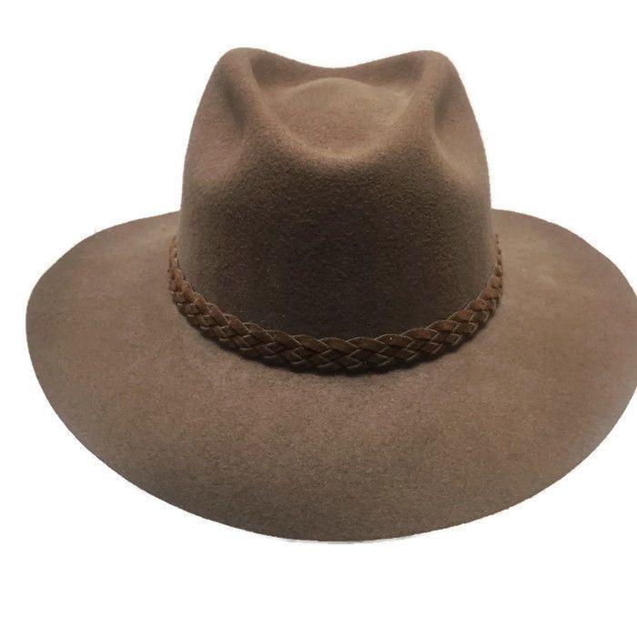 Vintage Double J Western Wool Cowboy Hat Brown Leather Braided Band Size  Large  DoubleJ  CowboyHat e419d98a5db8