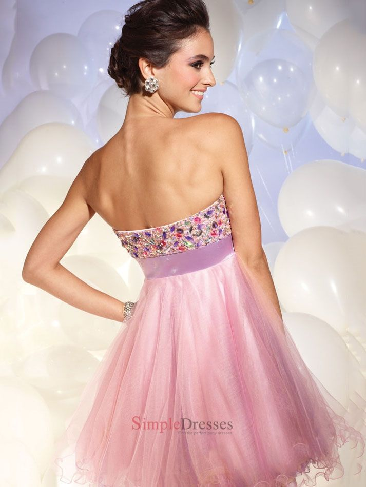 Sweetheart A-Line sash open back light purple Mini with Sequins Prom Dress PD1079