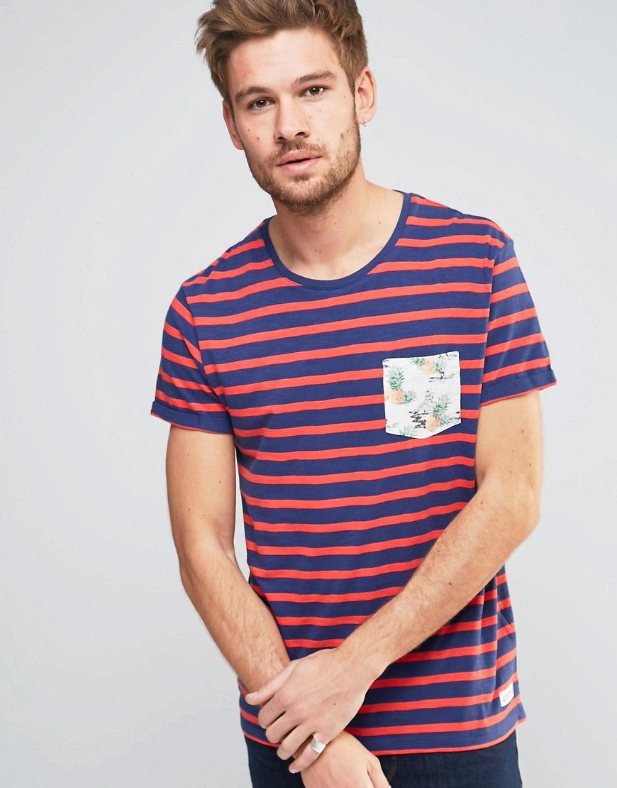 Image 1 ofEsprit Stripe T-Shirt with Tropical Pocket