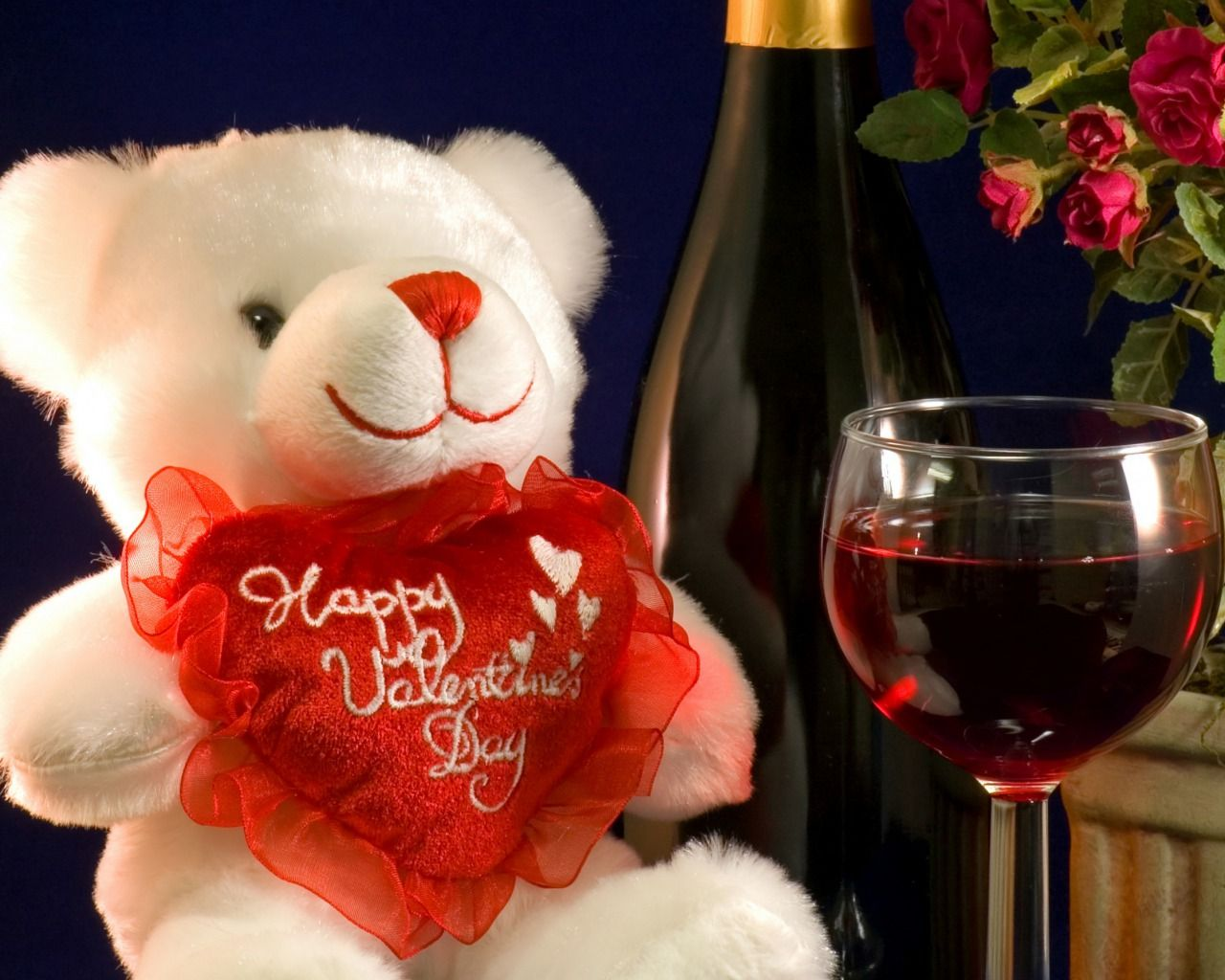 Teddy Bear And Red Wine Happy Wallpaper Valentine Day Wallpaper Hd Valentines Wine