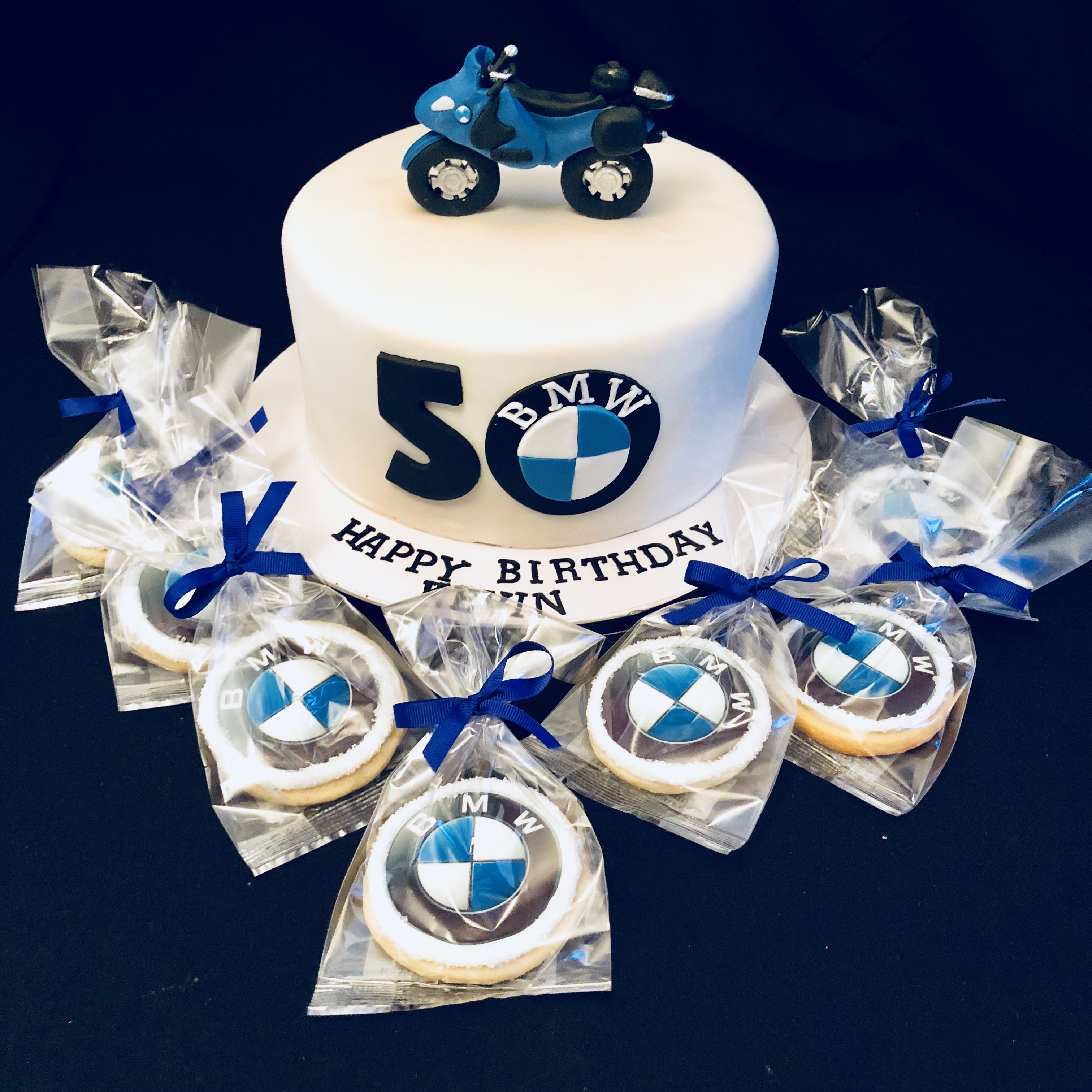 BMW motorcycle cake with matching BMW cookies Motorcycle cakes
