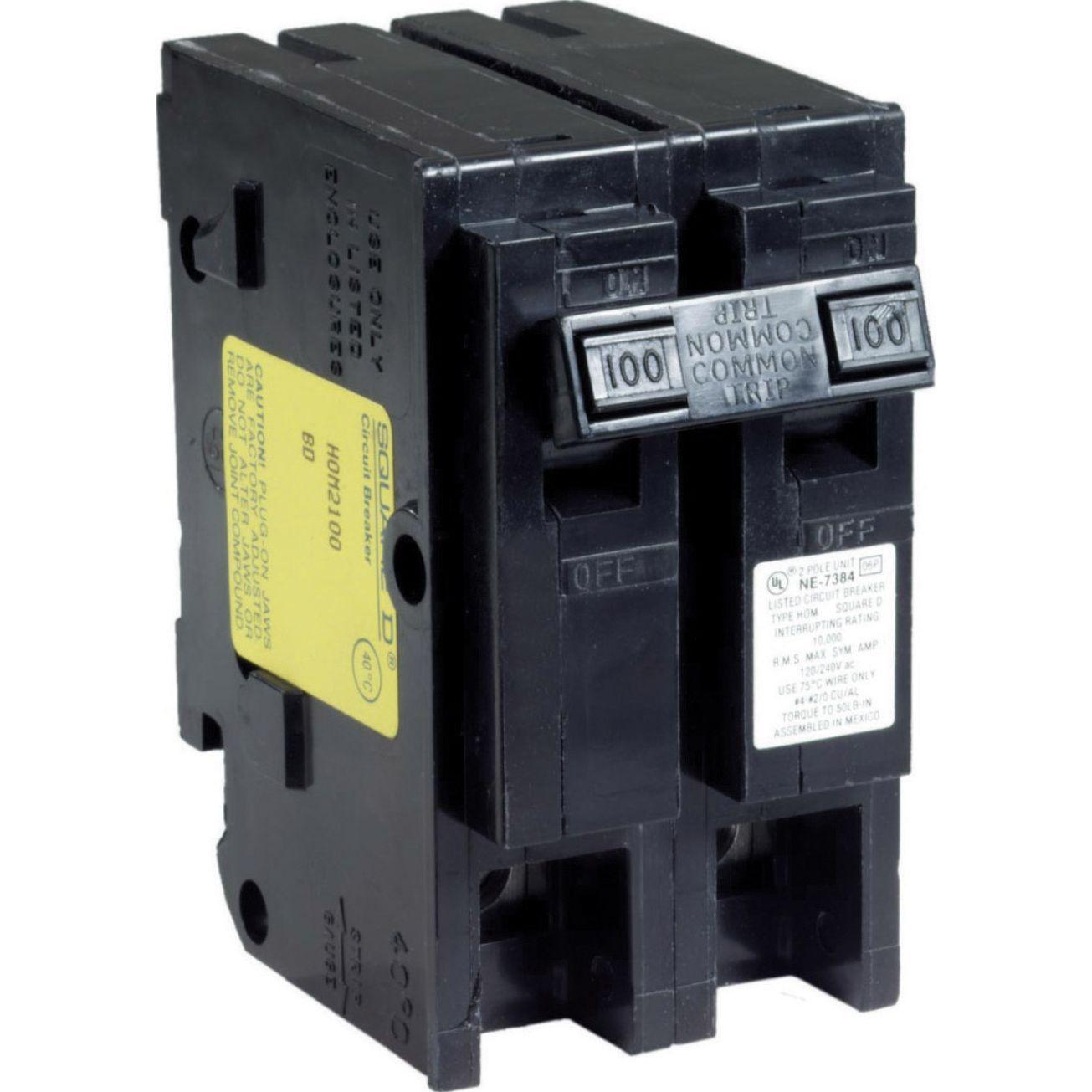 Homeline 100 Amp Double Pole Circuit Breaker Hom2100cp Non Interchangable Circuit Breakers Ace Hardware Electrical Breakers Circuit Breakers