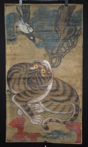 Korean-Painting-Scroll-Yi-dynasty-tiger-Paper-Korea-makuri-old-ink-minhwa-g69