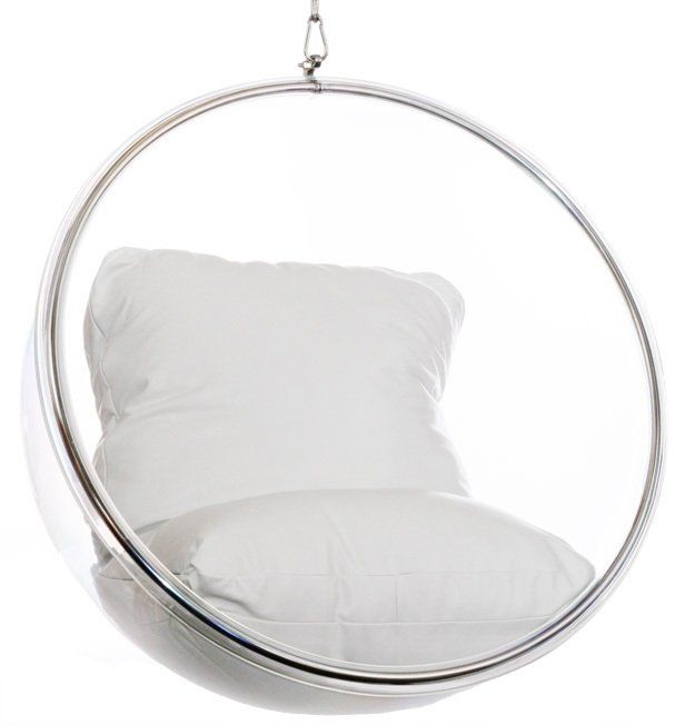 Hanging bubble chair by Eero Aarnio. See source, or instylemodern, or http: