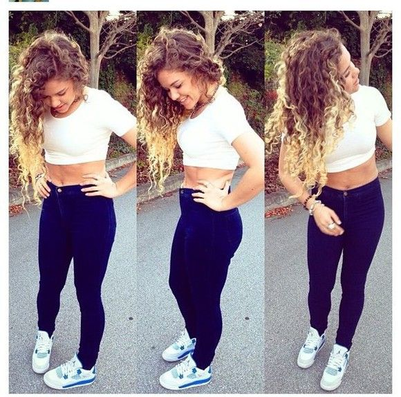 shoes jeans white shirt crop tops jordans